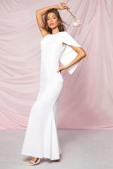 Ivory Occasion Bow Cape Detail Maxi Dress