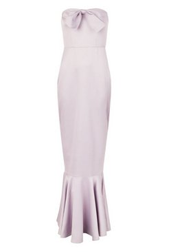 Grey Bridesmaid Satin Bow Front Fishtail Maxi Dress