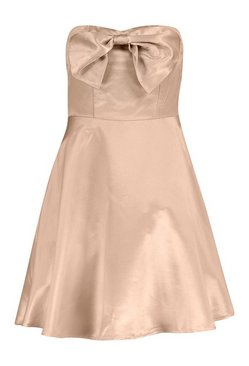Dusky pink Occasion Satin Bow Detail Skater Dress