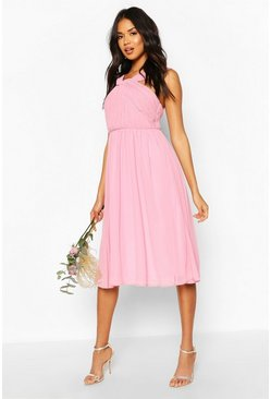 Dusky pink pink Bridesmaid Occasion Pleated Detail Midi Dress