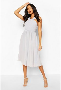 Grey Bridesmaid Occasion Pleated Detail Midi Dress