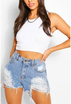 Mid blue blue Diamante Detail Distressed Denim Shorts