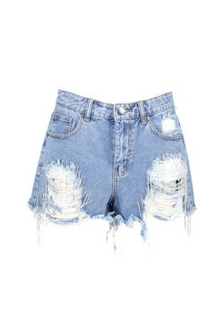 Mid blue Diamante Detail Distressed Denim Shorts