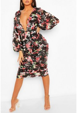 Black Boohoo Occasion Sequin Puff Sleeve Midi Dress