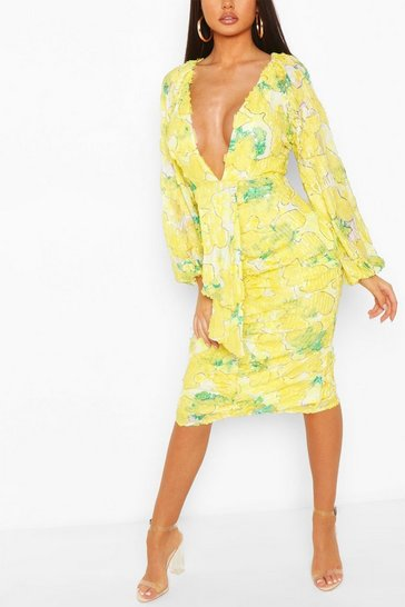 Lime Boohoo Occasion Sequin Puff Sleeve Midi Dress