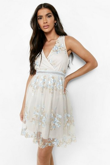 Blue Boohoo Occasion Floral Embroidery Wrap Skater Dress