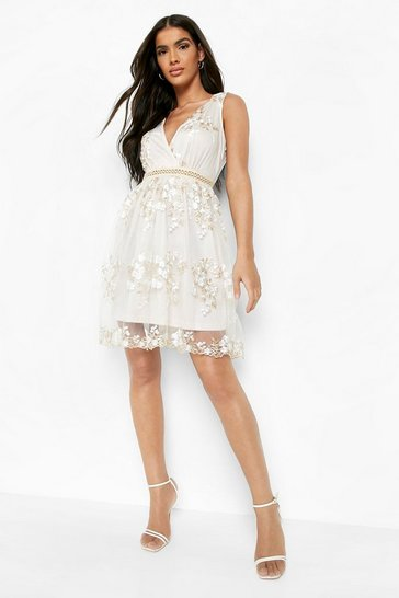 Cream white Boohoo Occasion Floral Embroidery Wrap Skater Dress