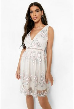 Pink Boohoo Occasion Floral Embroidery Wrap Skater Dress