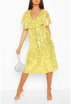 Lemon Bridesmaid Sequin Cape Detail Midi Dress