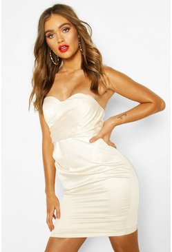 Ivory Boohoo Occasion Satin Cupped Mini Dress