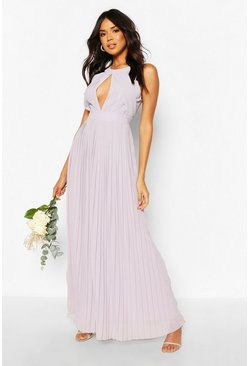 Grey Bridesmaid Occasion Pleated Panel Detail Maxi Dress
