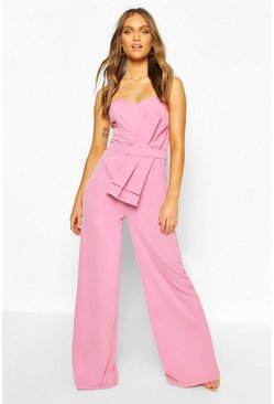 Lilac purple Boohoo Occasion Bandeau Bow Culotte Jumpsuit