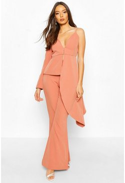 Apricot nude Blazer i one shoulder-modell med waterfalldrapering