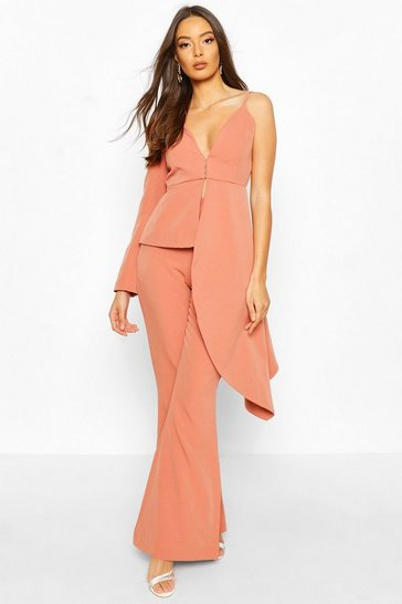 Apricot nude Boohoo Occasion Waterfall One Shoulder Blazer