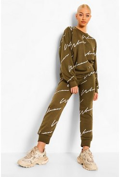 Khaki Woman Signature Trainingspak Met Sweater