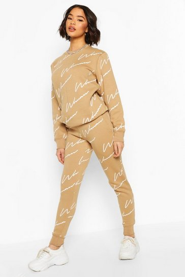 Sand beige Woman Signature Sweater Tracksuit
