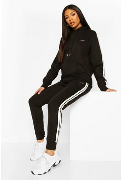 Black Woman Side Stripe Hoodie Tracksuit