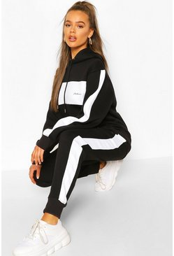 Black Woman Embroidered Colour Block Stripe Tracksuit