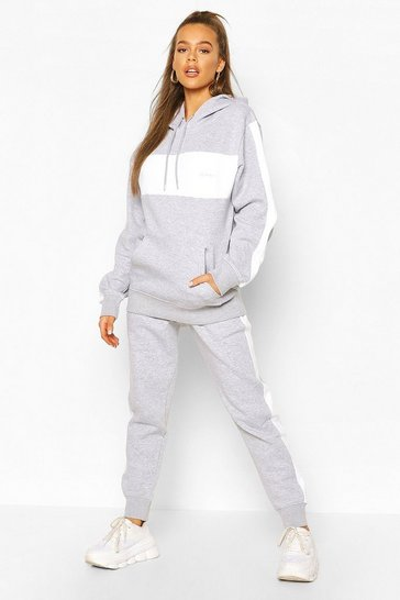 Grey Woman Embroidered Colour Block Stripe Tracksuit