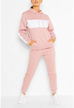 Rose pink Woman Embroidered Colour Block Stripe Tracksuit