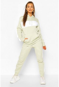 Sage Woman Embroidered Colour Block Stripe Tracksuit