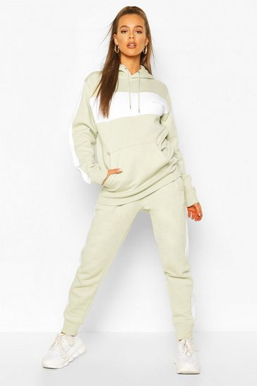 Sage green Woman Embroidered Colour Block Stripe Tracksuit