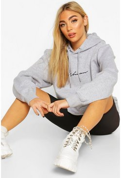 Grey marl grey Woman Signature Oversized Hoodie