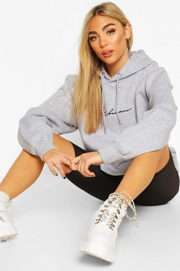 Grey marl grey Grey Woman Signature Oversized Hoodie