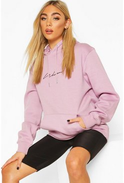 Lilac purple Woman Signature Oversized Hoodie