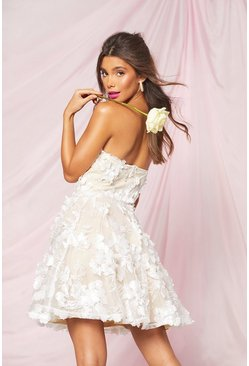 Ivory white Occasion 3D Floral Detail Bandeau Skater Dress