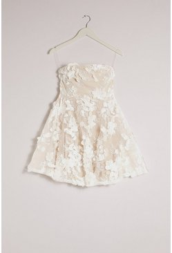 Ivory Occasion 3D Floral Detail Bandeau Skater Dress
