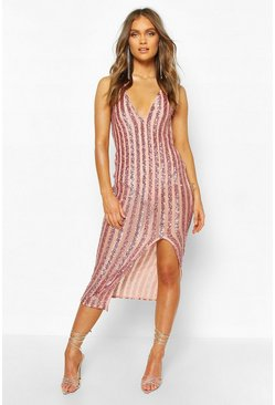 Rose Occasion Sequin Stripe Midaxi Dress