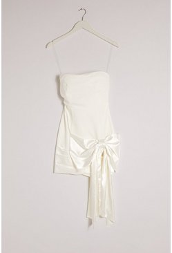 Ivory Occasion Bandeau Bow Detail Mini Dress