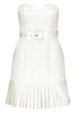 Ivory Occasion Satin Bandeau Belted Pleat Detail Mini