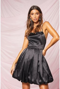 Black Occasion Satin Extreme Puff Mini Dress