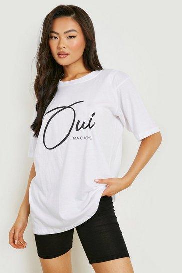 White Ma Cherie Slogan T-Shirt
