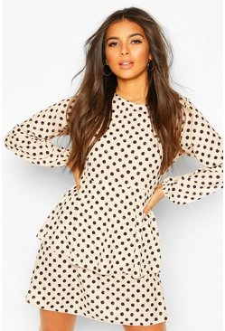 Ivory white Polka Dot Smock Dress