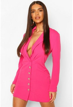Hot pink pink Military Button Blazer Dress