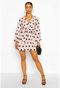 Nude Polka Dot Knot Front Dress