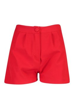 Berry Button Tailored Shorts