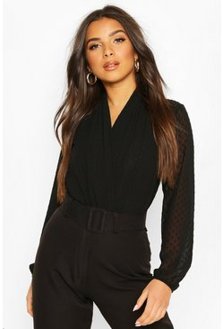 Black Wrap Dobby Mesh Bodysuit