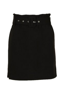 Black Paperbag Self Belt Skirt