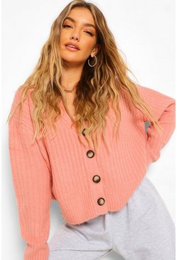 Pink Rib Knit Slouch Cardigan
