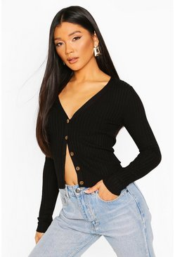 Black Skinny Rib Button Through Cardigan
