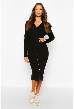 Black Rib Knit Puff Sleeve Midi Dress