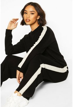 Black svart Knitted Crew Neck Colour Block Lounge Set