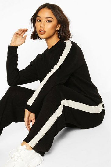 Black Knitted Crew Neck Colour Block Lounge Set