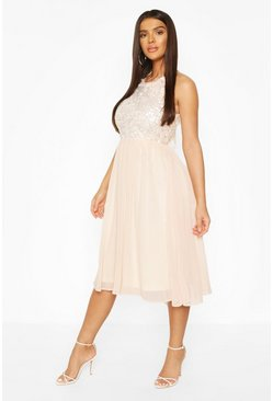 Nude Boohoo Occasion Sequin Midi Dress