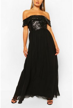 Black Bridesmaid Occasion Sequin Bardot Maxi Dress