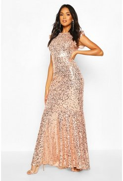 Blush pink Bridesmaid Occasion Extreme Sequin Low Back Maxi